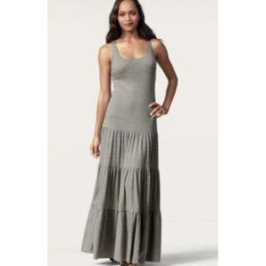 CAbi    Gray Tiered Ruffled Maxi Dress